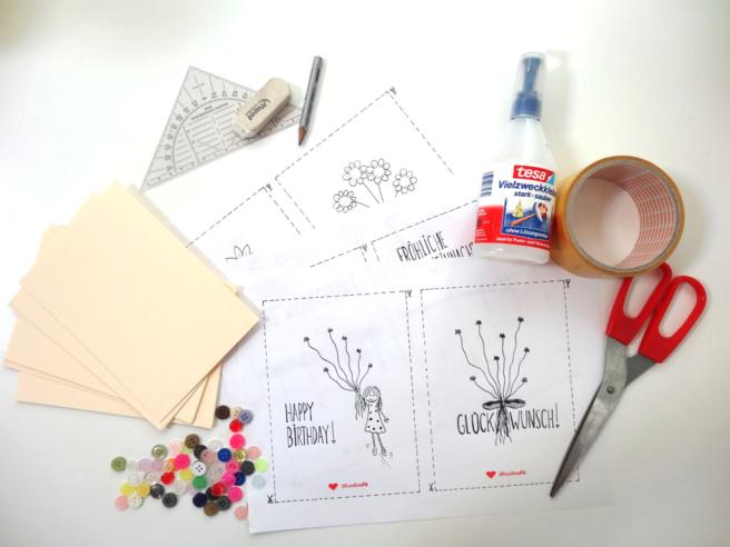 Anleitung: DIY Knopfkarten mit Bastelvorlage