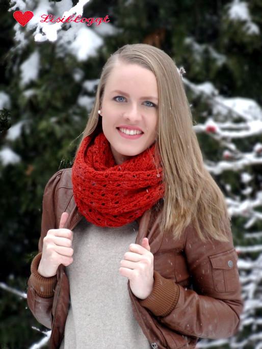 Anleitung: Rostroter Loop-Schal mit Ajourmuster