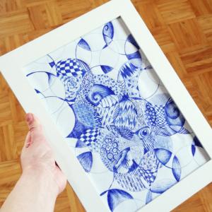 Anleitung: DIY Wanddeko mit Papier und Kugelschreiber