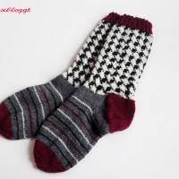 Anleitung: Socken mit Hahnentritt-Muster stricken