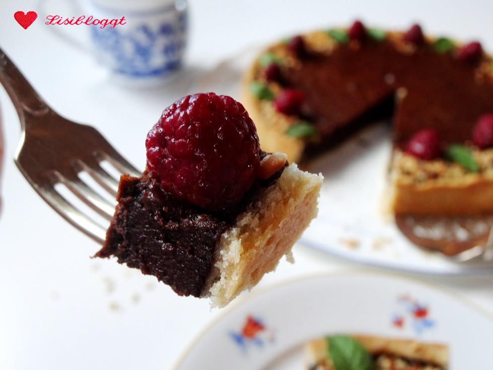 Rezept Vegane Schoko Tarte Mit Minze Und Himbeeren Lisibloggt
