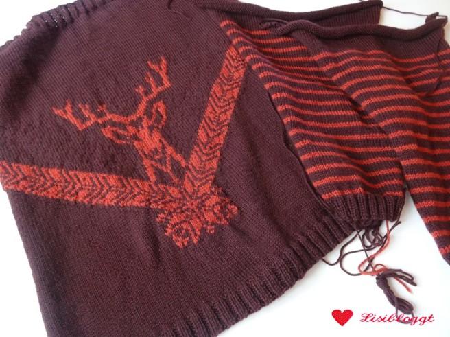 Anleitung: Pullover mit Hirschmuster stricken