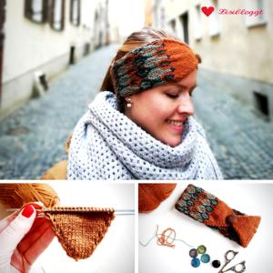Anleitung: Dreifarbiges Norweger-Stirnband mit Knopf